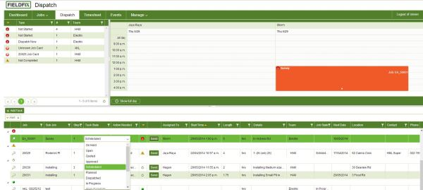 Job Management screenshot shows job and sub jobs tasks, automated alerts, job states and easy schedule and dispatch.