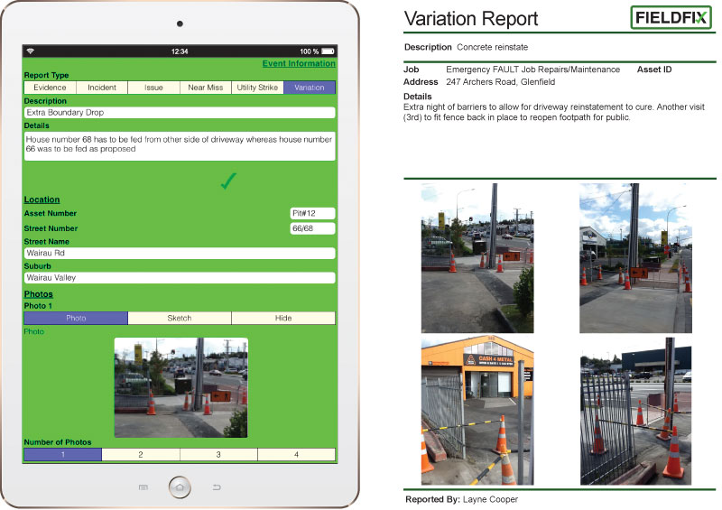 FIELDFIX automatically merges photos and text captured in the field into a professional PDF report in seconds.